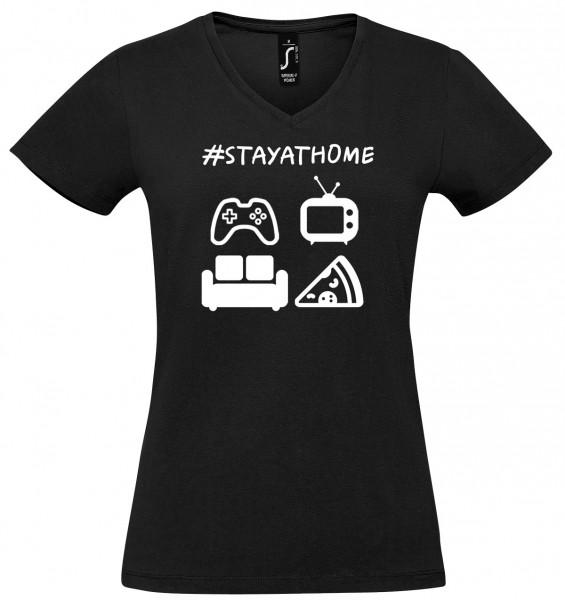 #stayathome - Girl-Shirt (schwarz)