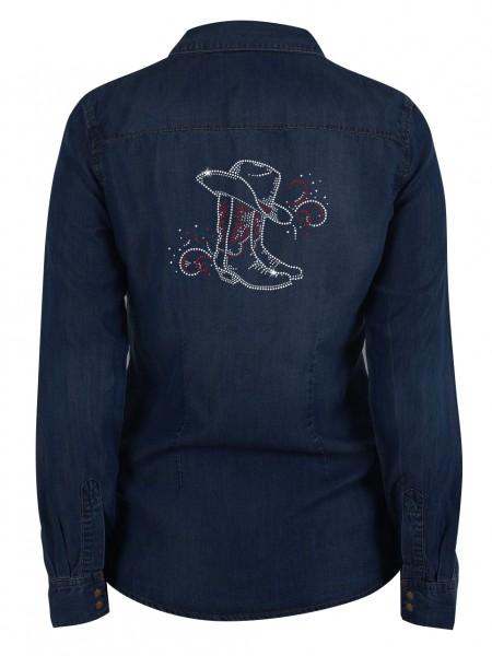 Cowboyhut & Stiefel / Glitzerstrass auf Jeans Denim Hemd_back