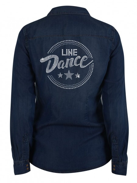 Line Dance / Glitzerstrass auf Jeans Denim Hemd_back